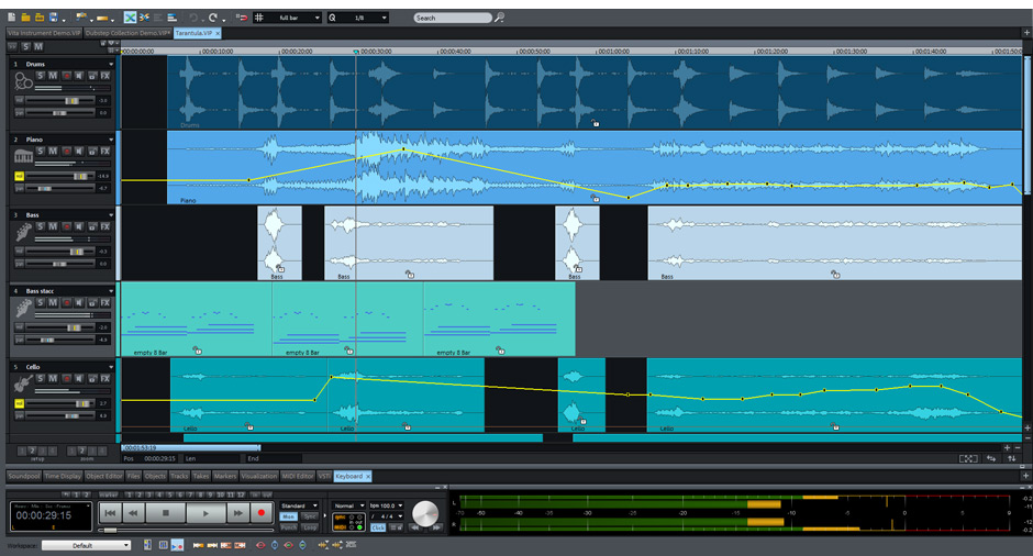 Samplitude Music Studio Screen