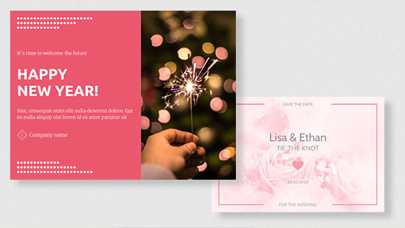 Templates for invitations & holiday cards