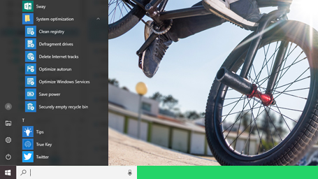 More direct: Access from the start menu