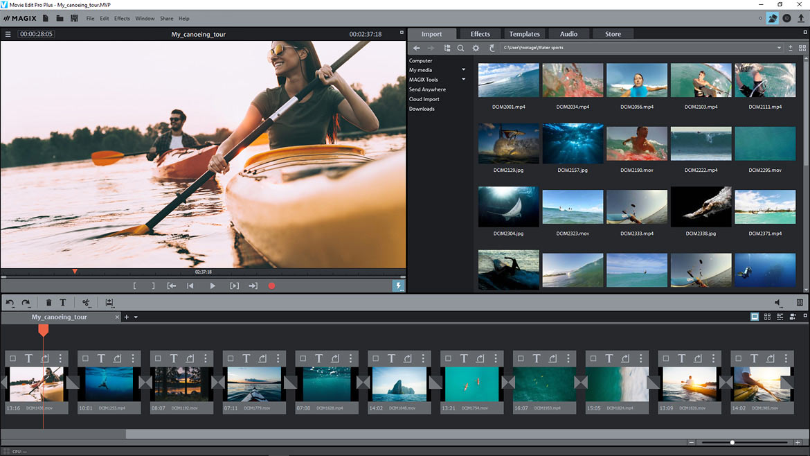 A full view of the MAGIX Movie Edit Pro user interface