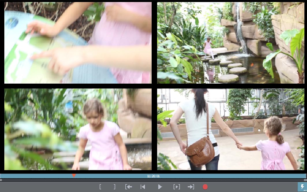 Video-Collage mit vier Videos