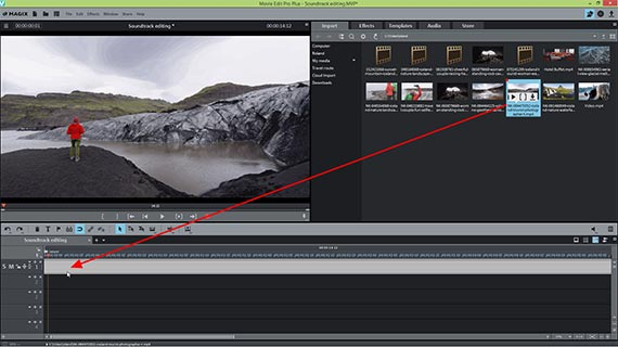 Edit video audio track: Video import