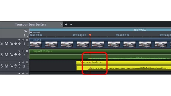 Edit audio track: Synchronization