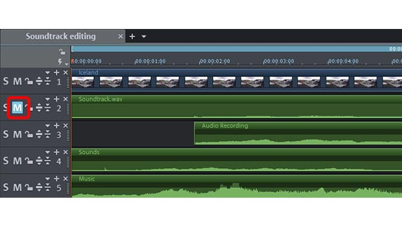 Edit audio track: Increase volume