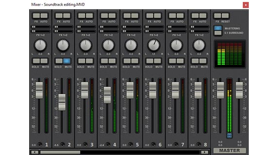 Edit audio track: Virtual mixing desk