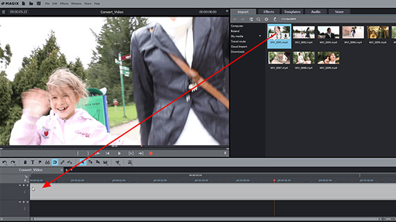 Changing video format: File import