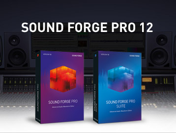 Sound Forge boxes in front of a music studio